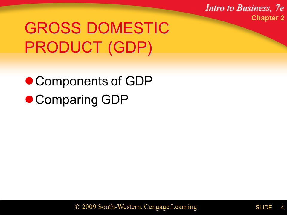 Intro to Business, 7e © 2009 South-Western, Cengage Learning SLIDE Chapter 2 4 GROSS DOMESTIC PRODUCT (GDP) Components of GDP Comparing GDP