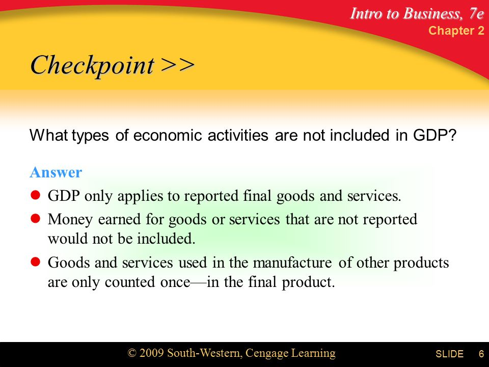 Intro to Business, 7e © 2009 South-Western, Cengage Learning SLIDE Chapter 2 6 What types of economic activities are not included in GDP.