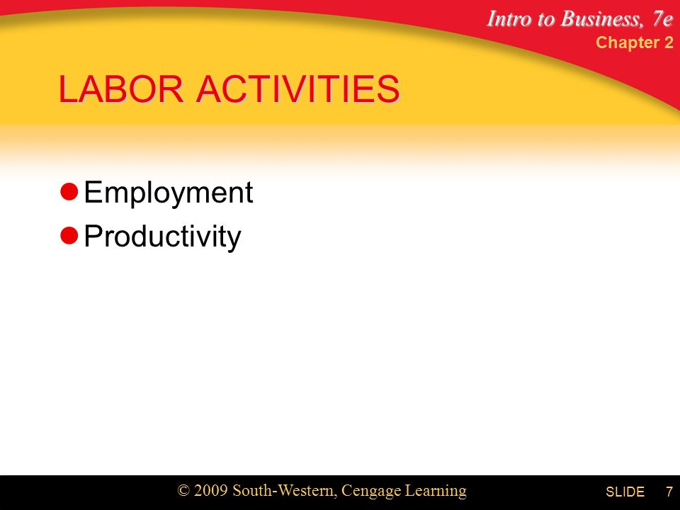 Intro to Business, 7e © 2009 South-Western, Cengage Learning SLIDE Chapter 2 7 LABOR ACTIVITIES Employment Productivity