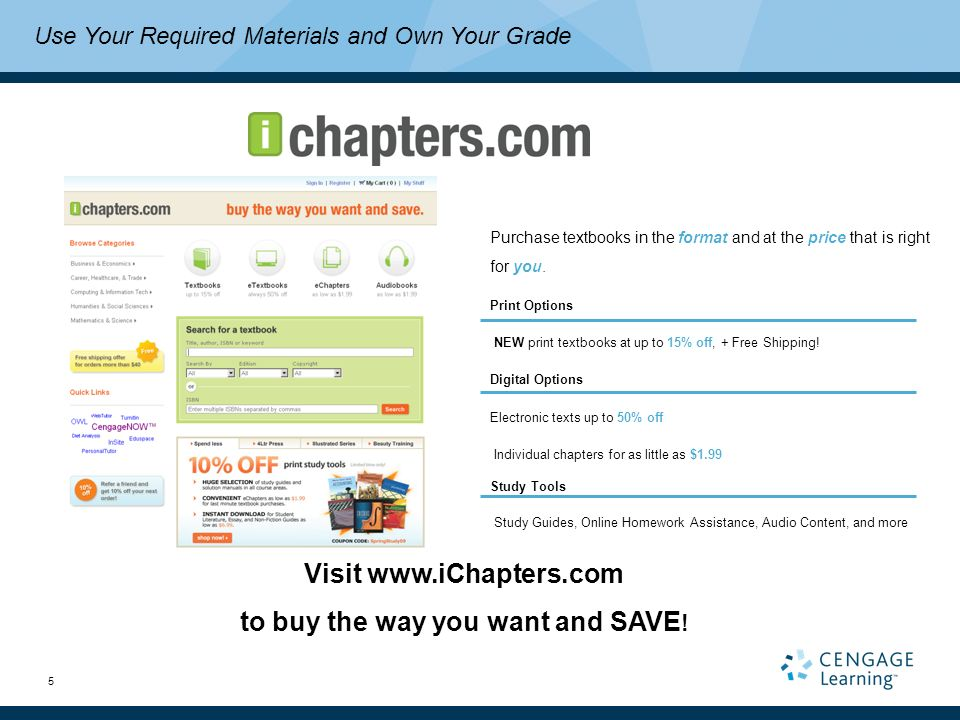 5 Purchase textbooks in the format and at the price that is right for you.