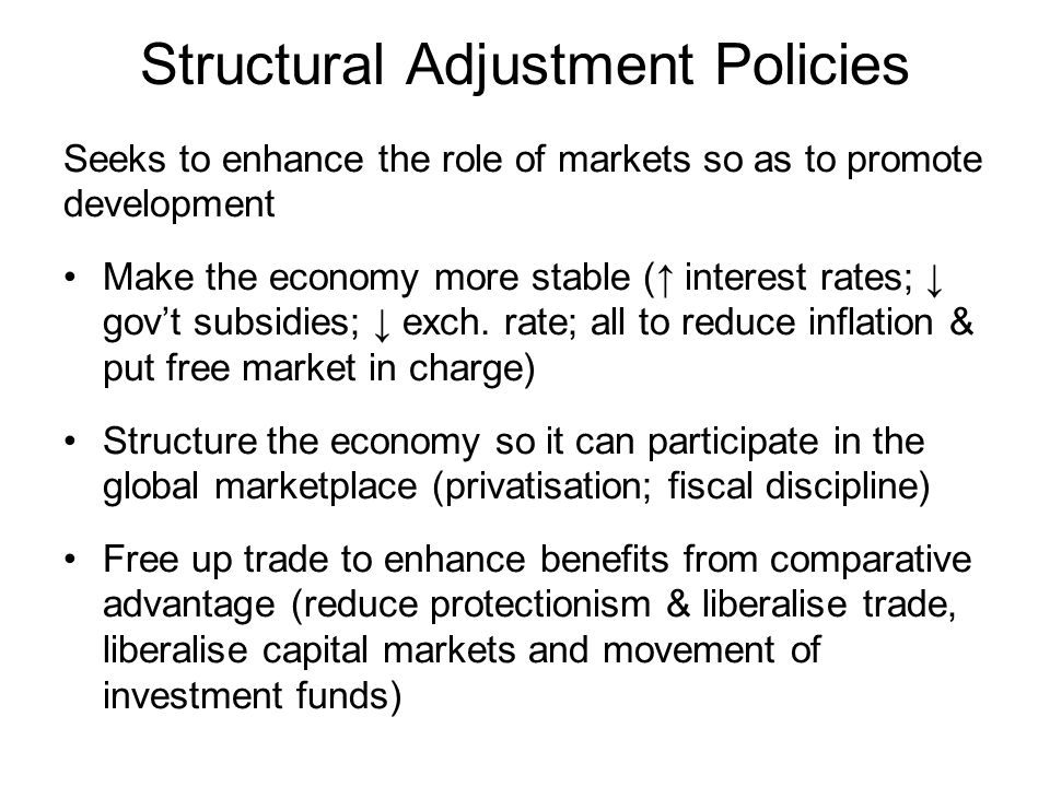 structural adjustment policies in developing economies