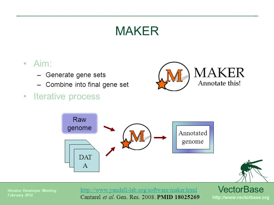 Maker annotation process example of glossina vectorbase karyn mgy vectorbase hinxton developer meeting february 2012 maker aim generate gene sets combine into ccuart Images