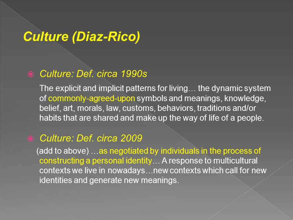 Culture Def Circa 1990s The Explicit And Implicit Patterns For