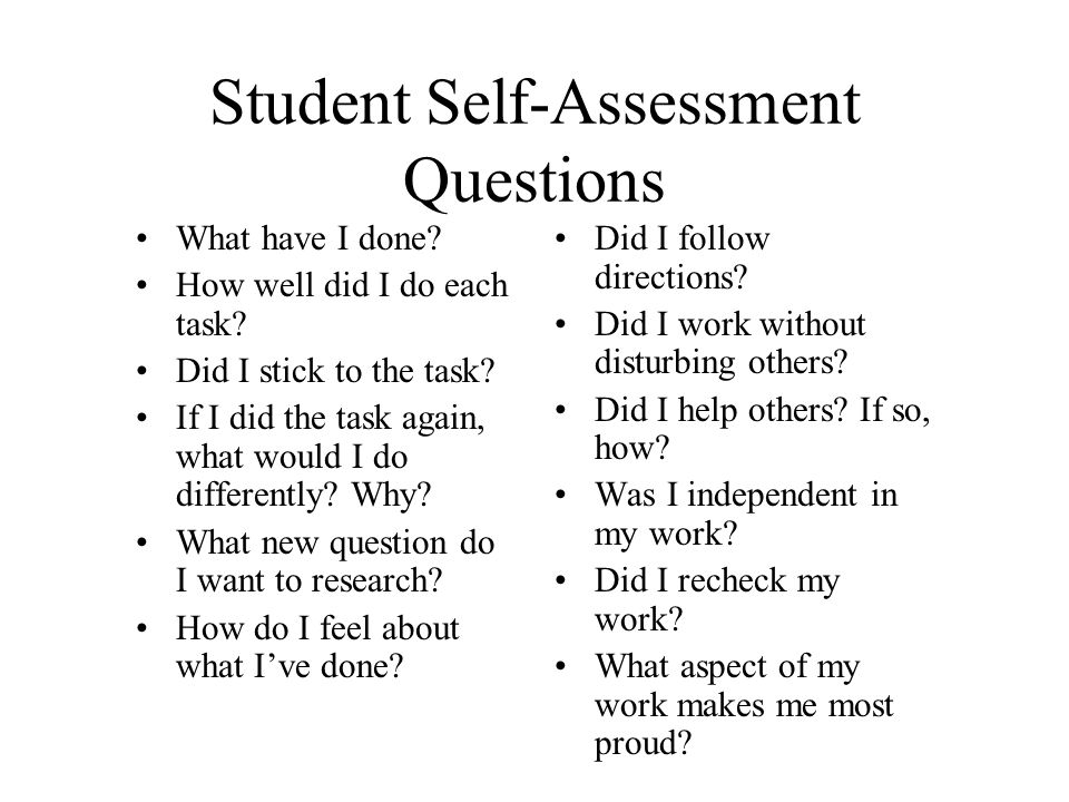 Handouts to be made as a full page (Slide). Student Self-Assessment ...