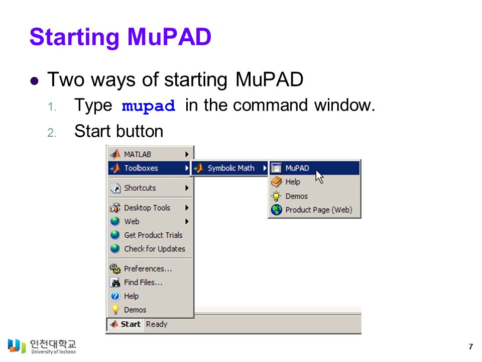 Chapter 2: First Steps in MuPAD MATLAB for Scientist and