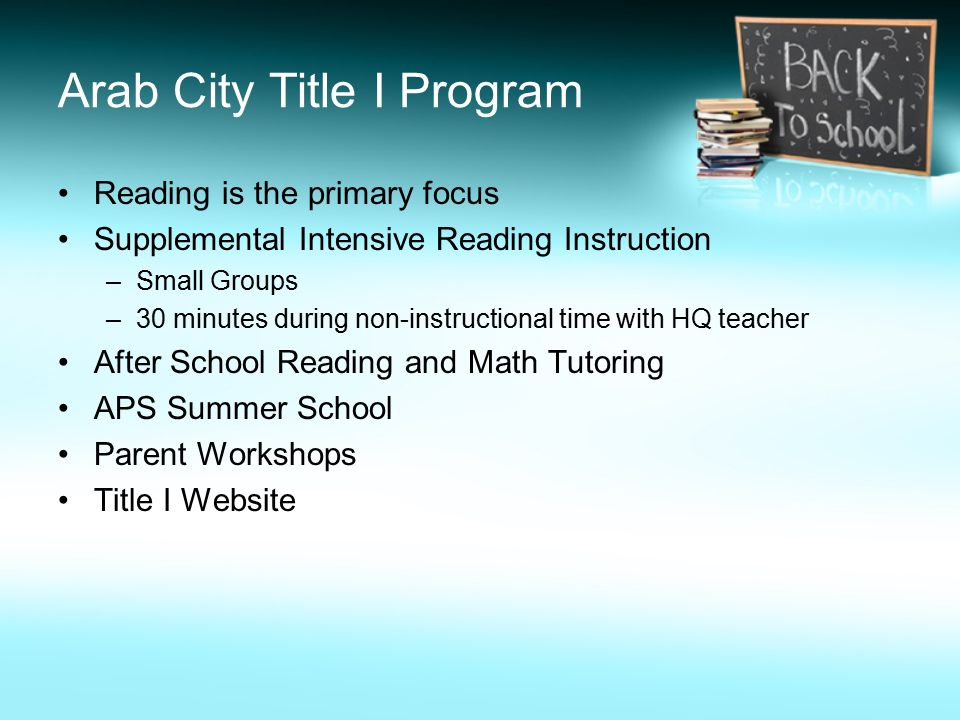 Arab City Title I Program Reading is the primary focus Supplemental Intensive Reading Instruction –Small Groups –30 minutes during non-instructional time with HQ teacher After School Reading and Math Tutoring APS Summer School Parent Workshops Title I Website