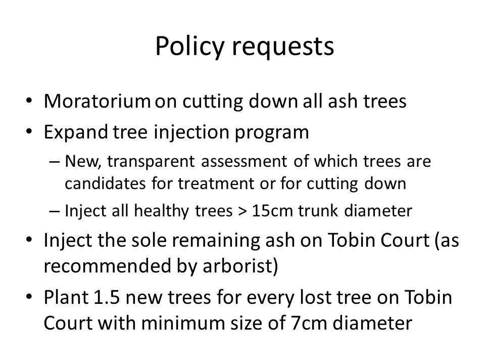 Emerald Ash Borer Management: Request for a Moratorium on