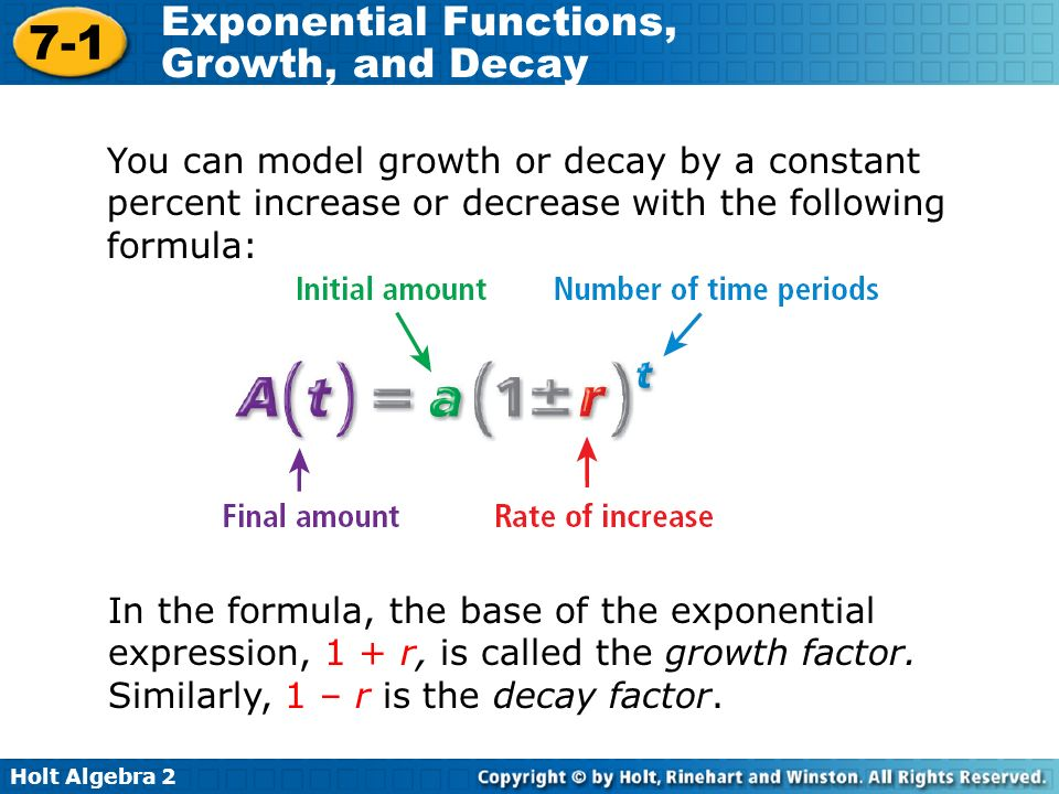 Holt Algebra Exponential Functions Growth And Decay You Can Model Or By