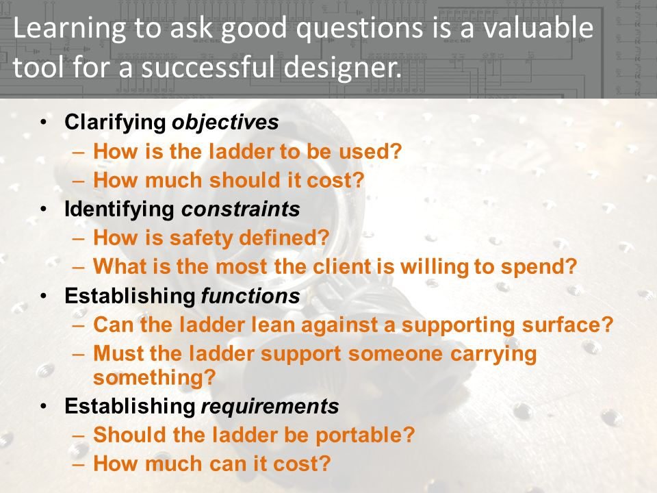 Developing a Questions List Taken from engineering design: a