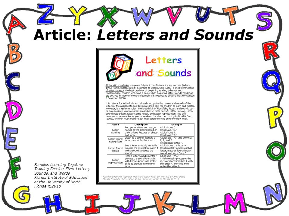 Session Five Letters Sounds And Words Families Learning Together
