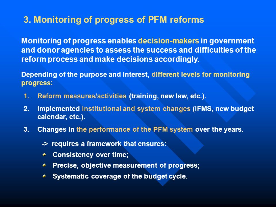 3. Monitoring of progress of PFM reforms 1.Reform measures/activities (training, new law, etc.).