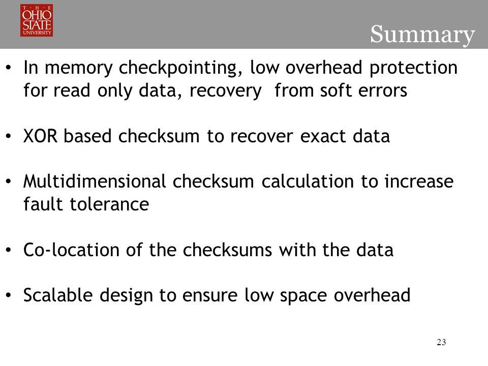 Checksum Strategies for Data in Volatile Memory Authors