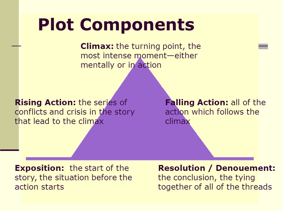 Plot Components Exposition: the start of the story, the situation before the action starts Rising Action: the series of conflicts and crisis in the story that lead to the climax Climax: the turning point, the most intense moment—either mentally or in action Falling Action: all of the action which follows the climax Resolution / Denouement: the conclusion, the tying together of all of the threads