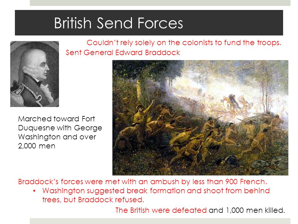 British Send Forces Couldn't rely solely on the colonists to fund the troops.