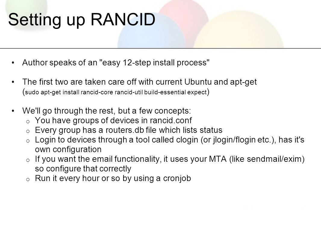 RANCID / Version Control AfNOG 11, Kigali/Rwanda  - ppt download