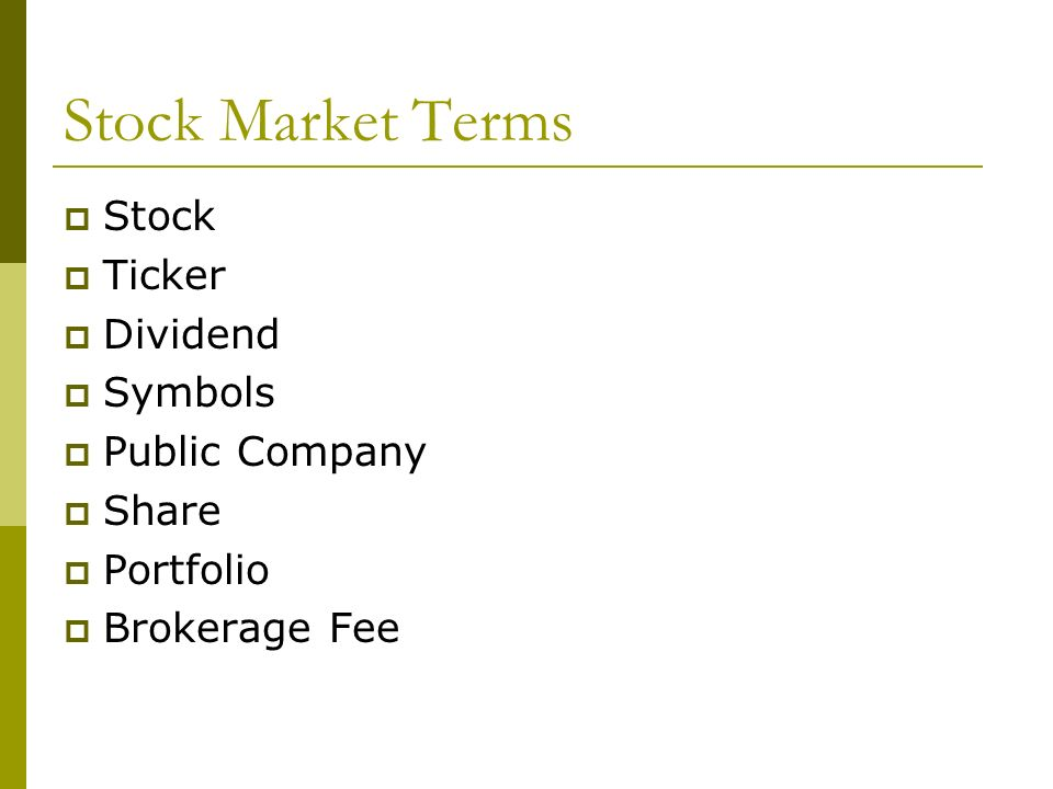 Stock Market Game Introduction To The Market Stock Market Terms