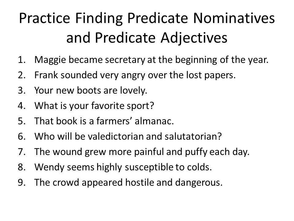 parts of the sentence unit 4: predicate nominative and predicate