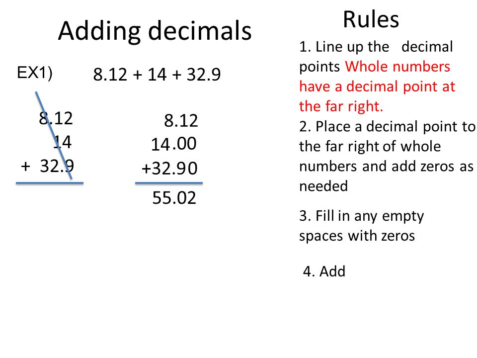 Decimal Review. Adding decimals Rules Line up the decimal ...