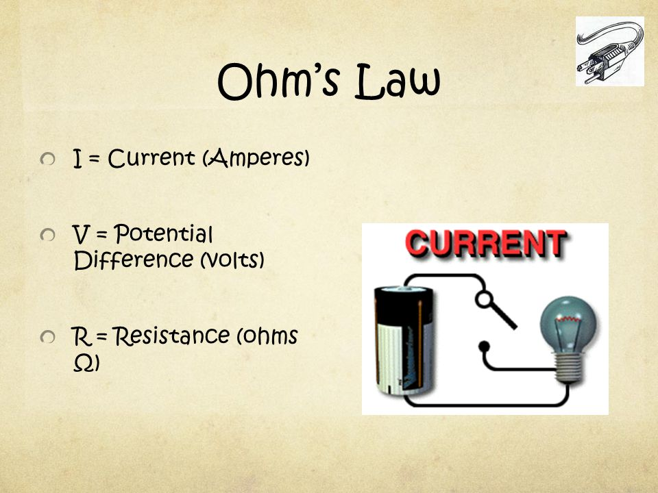 Ohm's Law I = Current (Amperes) V = Potential Difference (volts) R = Resistance (ohms Ω)