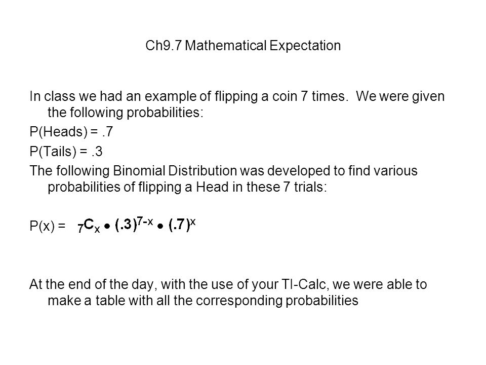 Mathematical expectation in probability examples