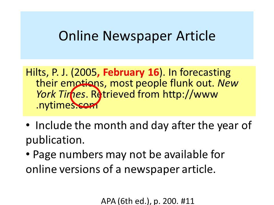 Formatting Newspaper Articles APA 6th Ed Duration 45 Sec Ppt