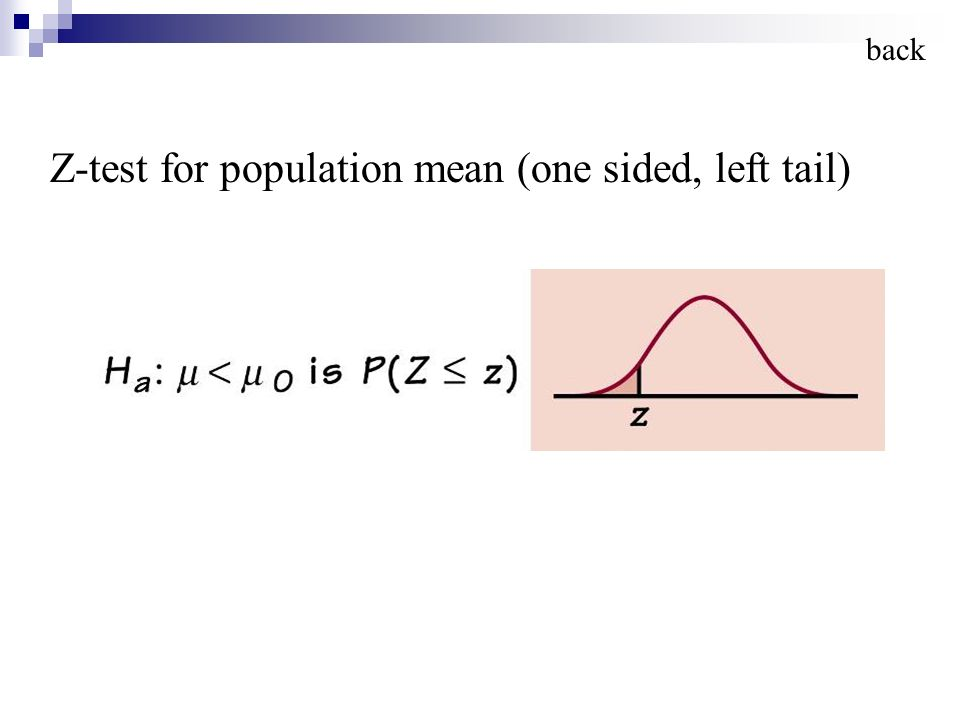 Z-test for population mean (one sided, left tail) back