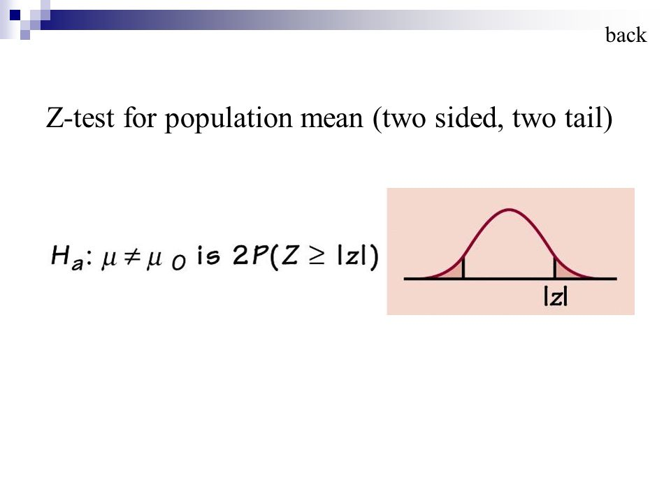 Z-test for population mean (two sided, two tail) back