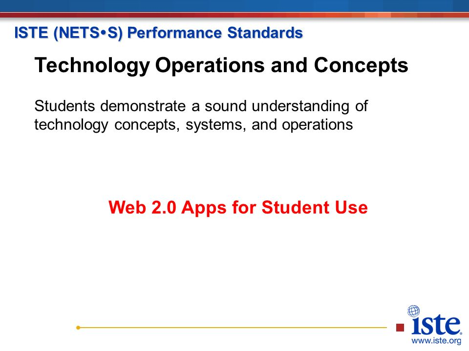 ISTE (NETS  S) Performance Standards Technology Operations and Concepts Students demonstrate a sound understanding of technology concepts, systems, and operations Web 2.0 Apps for Student Use Technology Operations and Concepts Students demonstrate a sound understanding of technology concepts, systems, and operations Web 2.0 Apps for Student Use