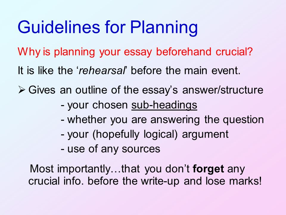 vogel plan essay Your essay plan is the skeleton of your essay, and includes your argument, main points and a good essay plan helps you arrange your ideas logically and stay on track during the writing process.
