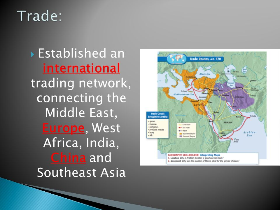  Established an international trading network, connecting the Middle East, Europe, West Africa, India, China and Southeast Asia