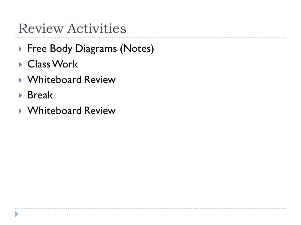 Unit 2 day 19 review review activities free body diagrams 2 review activities free body diagrams notes class work whiteboard review break whiteboard review ccuart Choice Image