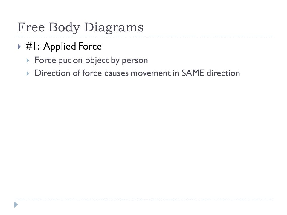 Unit 2 day 19 review review activities free body diagrams 3 free body diagrams 1 applied force force put on object by person direction of force causes movement in same direction ccuart Choice Image