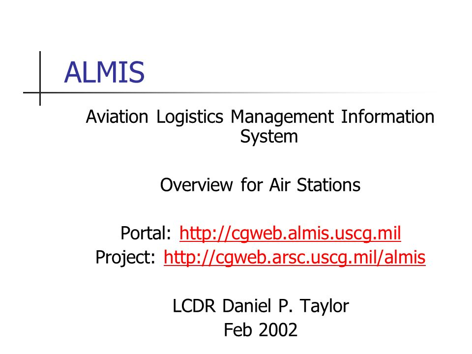 Aviation Logistics Management Information System Overview