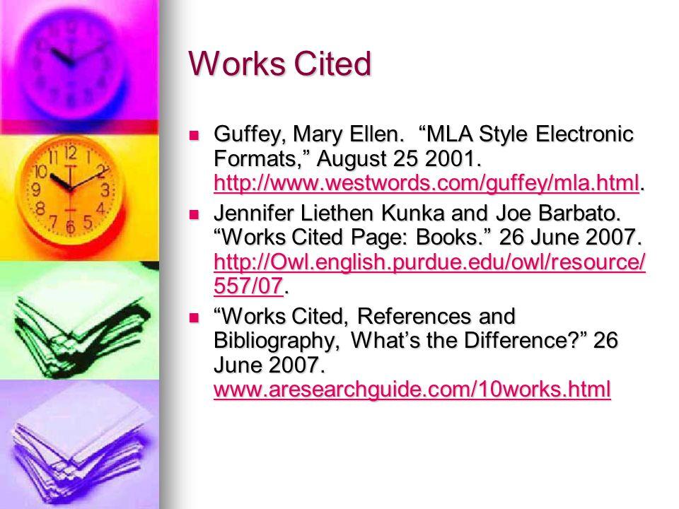 work cited page mla website