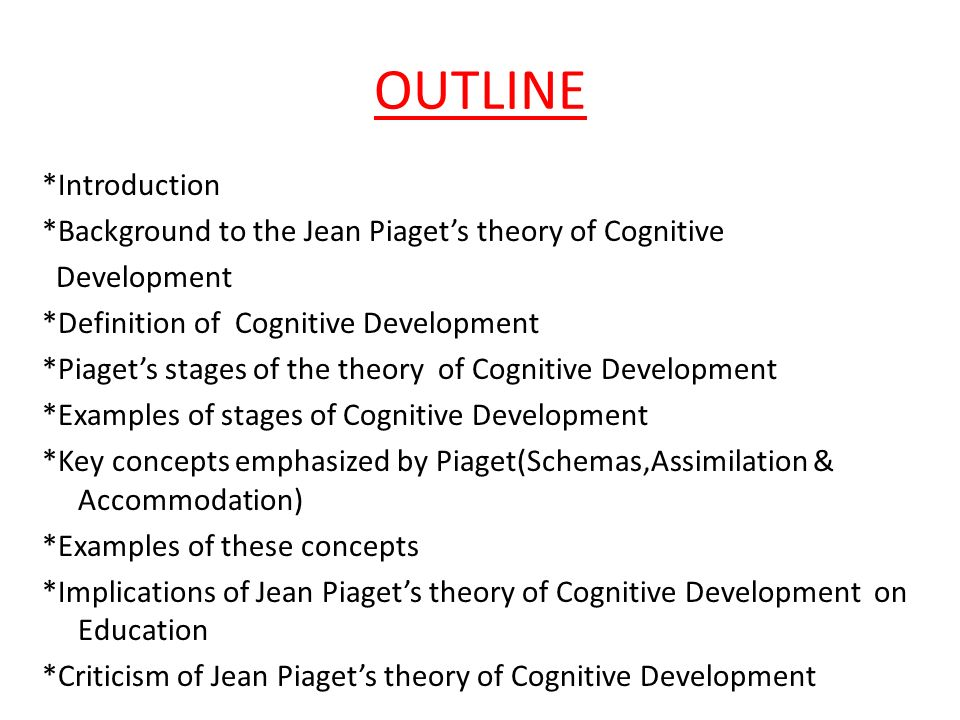 OUTLINE *Introduction *Background to the Jean Piaget's theory of Cognitive Development *Definition of Cognitive Development *Piaget's stages of the theory of Cognitive Development *Examples of stages of Cognitive Development *Key concepts emphasized by Piaget(Schemas,Assimilation & Accommodation) *Examples of these concepts *Implications of Jean Piaget's theory of Cognitive Development on Education *Criticism of Jean Piaget's theory of Cognitive Development