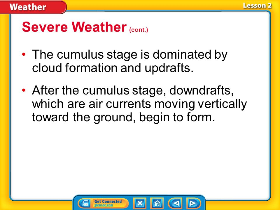 Lesson 2-4 Thunderstorms have warm temperatures, moisture, and rising air, which may be supplied by a low- pressure system.