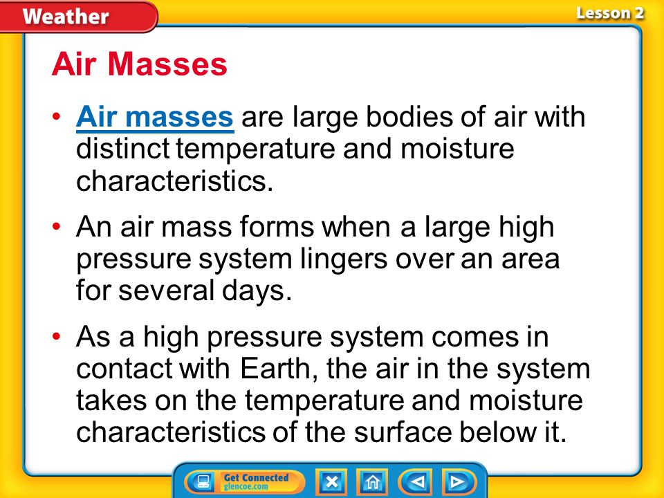 Lesson 2-1 A low-pressure system is a large body of circulating air with low pressure at its center and higher pressure outside of the system.low-pressure system Pressure Systems (cont.)
