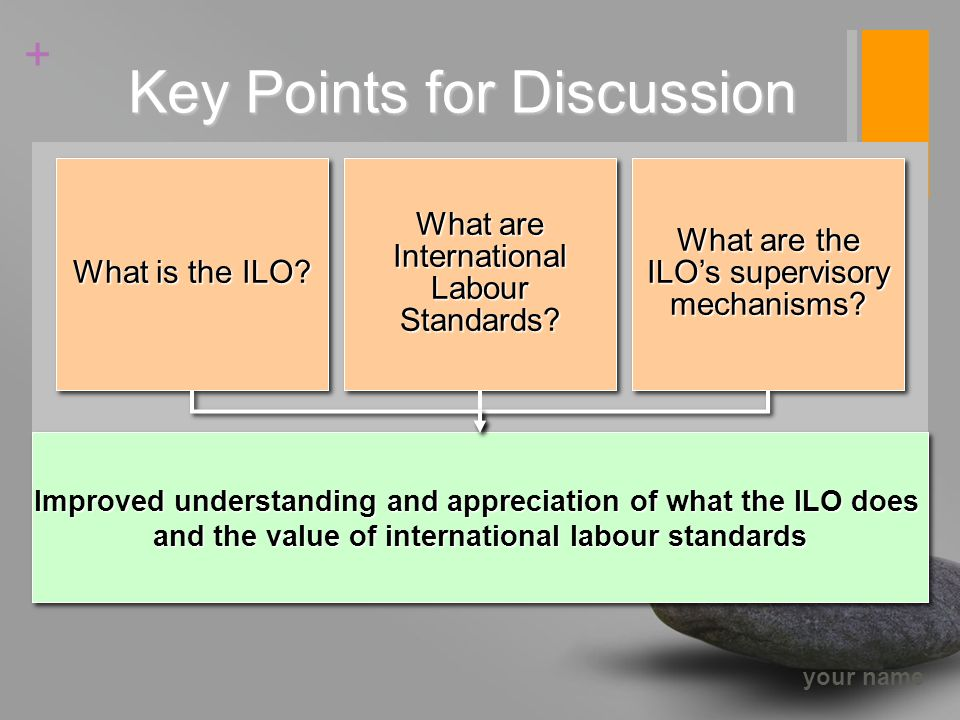 your name + Key Points for Discussion Improved understanding and appreciation of what the ILO does and the value of international labour standards Improved understanding and appreciation of what the ILO does and the value of international labour standards What are International Labour Standards.