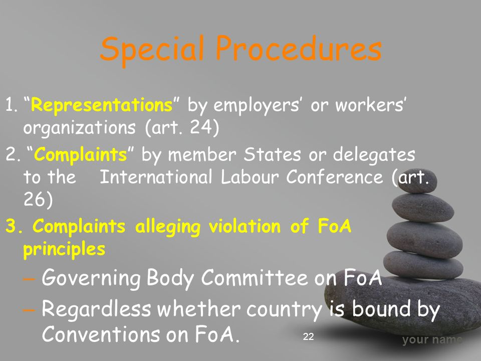 your name Special Procedures 1. Representations by employers' or workers' organizations (art.