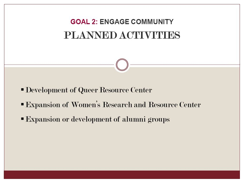  Development of Queer Resource Center  Expansion of Women's Research and Resource Center  Expansion or development of alumni groups GOAL 2: ENGAGE COMMUNITY PLANNED ACTIVITIES