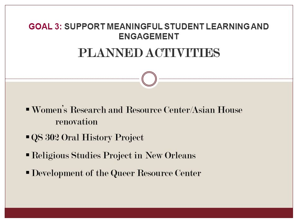  Women's Research and Resource Center/Asian House renovation  QS 302 Oral History Project  Religious Studies Project in New Orleans  Development of the Queer Resource Center GOAL 3: SUPPORT MEANINGFUL STUDENT LEARNING AND ENGAGEMENT PLANNED ACTIVITIES