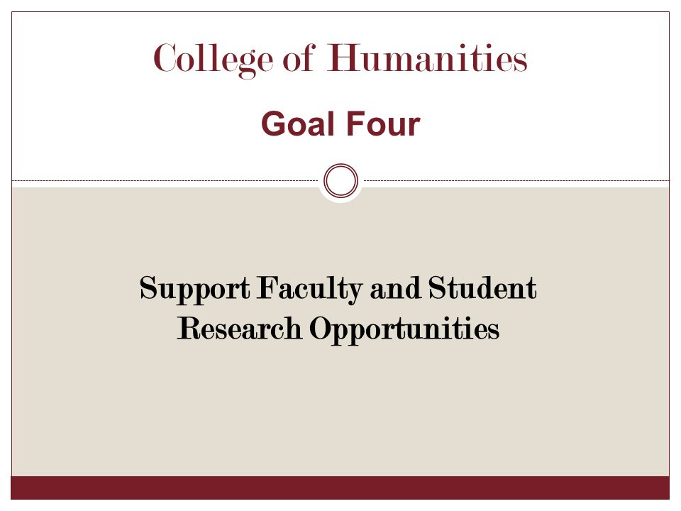 Support Faculty and Student Research Opportunities College of Humanities Goal Four