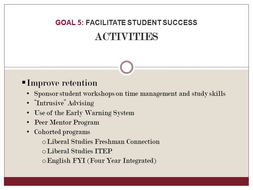  Improve retention Sponsor student workshops on time management and study skills Intrusive Advising Use of the Early Warning System Peer Mentor Program Cohorted programs o Liberal Studies Freshman Connection o Liberal Studies ITEP o English FYI (Four Year Integrated) GOAL 5: FACILITATE STUDENT SUCCESS ACTIVITIES