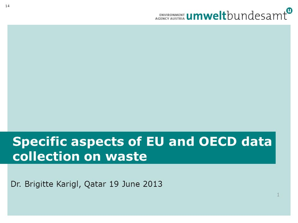 Specific aspects of EU and OECD data collection on waste Dr.