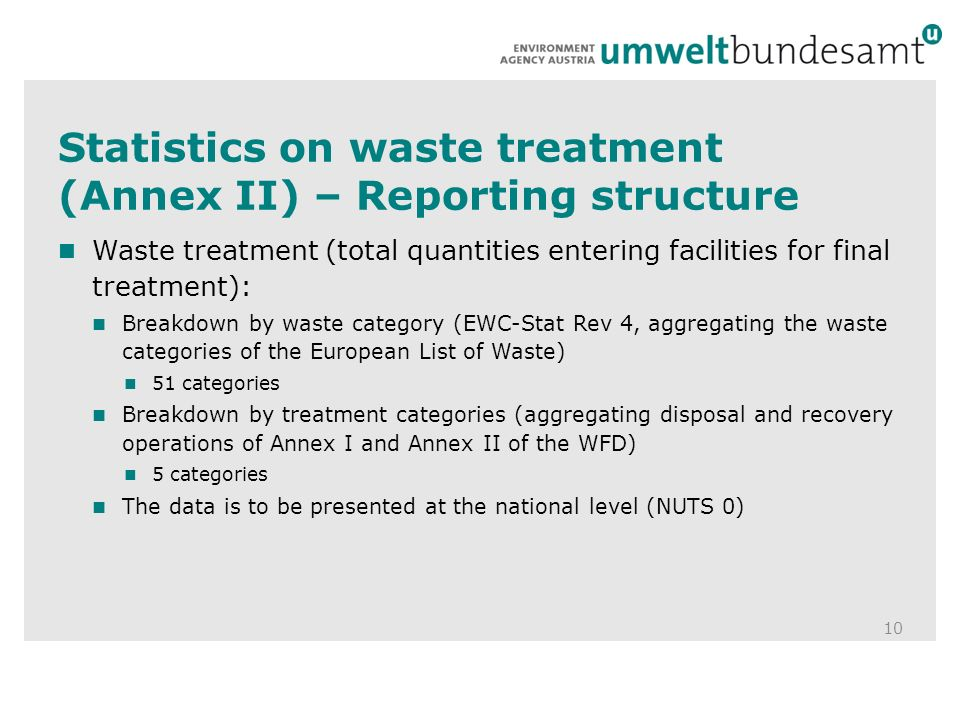 Statistics on waste treatment (Annex II) – Reporting structure 10 Waste treatment (total quantities entering facilities for final treatment): Breakdown by waste category (EWC-Stat Rev 4, aggregating the waste categories of the European List of Waste) 51 categories Breakdown by treatment categories (aggregating disposal and recovery operations of Annex I and Annex II of the WFD) 5 categories The data is to be presented at the national level (NUTS 0)