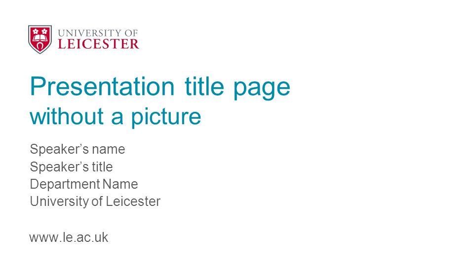 Presentation Title Speaker S Name Presentation Title