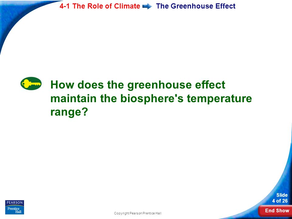End Show 4-1 The Role of Climate Slide 4 of 26 Copyright Pearson Prentice Hall The Greenhouse Effect How does the greenhouse effect maintain the biosphere s temperature range
