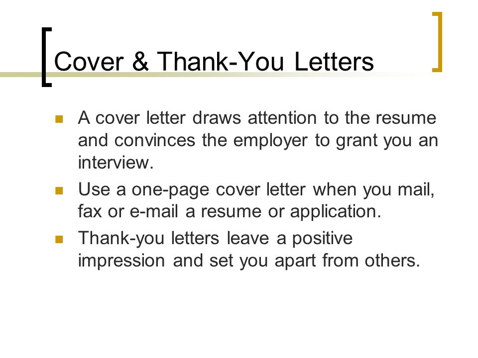 Cover Thank You Letters A Cover Letter Draws Attention To The