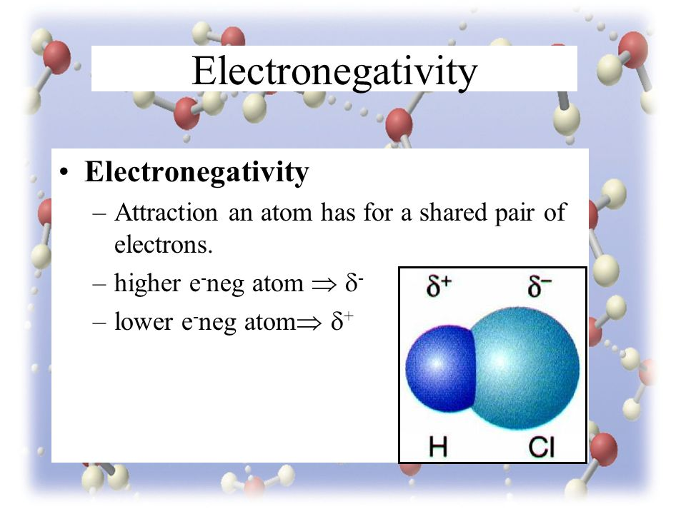 Electronegativity –Attraction an atom has for a shared pair of electrons.