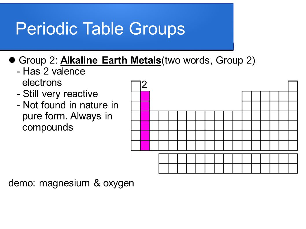 Periodic characteristics valence electrons determine chemical 4 periodic table groups group 2 alkaline earth metalstwo urtaz Gallery